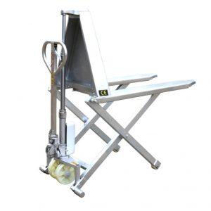 Transpaleta de tijera de elevación alta con marco de acero inoxidable HSG540M